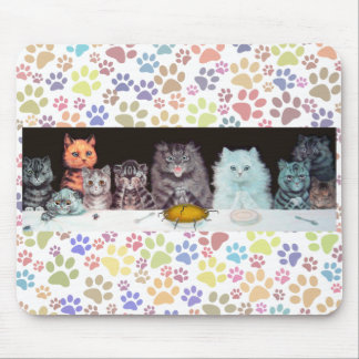 Vintage Louis Wain Cats Dinner Time Mousepad