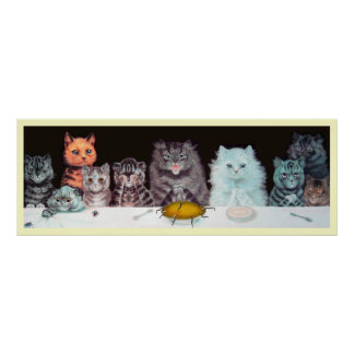 Vintage Louis Wain Cats Suppertime Poster