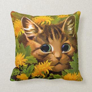 VINTAGE LOUIS WAIN FLORAL CAT PILLOW