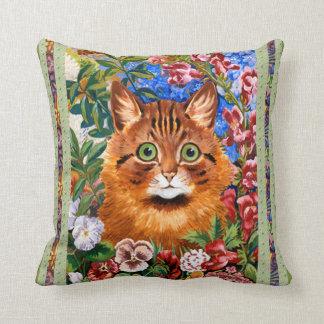 Vintage Louis Wain Flower Cat Art Throw Pillow
