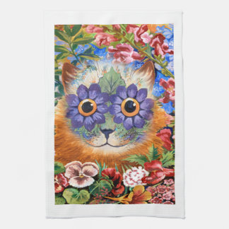 Vintage Louis Wain Flower Cat Kitchen Towel
