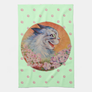 Vintage Louis Wain Flower Cat Tea Towel