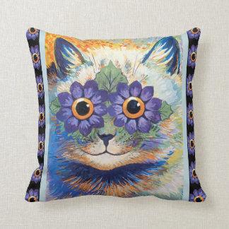 Vintage Louis Wain Flower Cat Throw Pillow