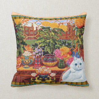 Vintage Louis Wain Flower Lover Cat Throw Pillow