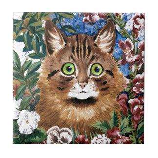 Vintage Louis Wain Garden Cat Art Gift Tile