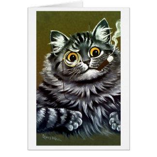 Vintage Louis Wain Let Me Think Cat Card
