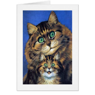 Vintage Louis Wain Mother Cat with Kitten Card