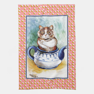 Vintage Louis Wain Teapot Cat Cupcake Tea Towel