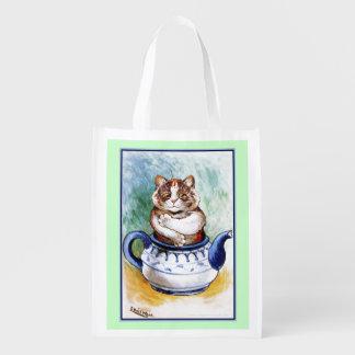 Vintage Louis Wain Teapot Cat Grocery Bag