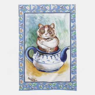 Vintage Louis Wain Teapot Cat Paw Print Tea Towel