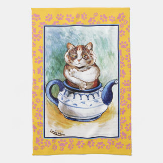 Vintage Louis Wain Teapot Cat Paw Tea Towel