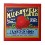 "Vintage Louisiana Strawberry Prod Crate Label Tile<br><div class=""desc"">Vintage Madisonville Beauties Brand Strawberry Crate advertising Label ~ ceramic accent tile. Enjoy Tile &amp; Thanks For Stopping By!</div>"