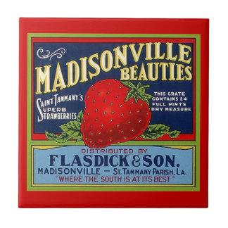 Vintage Louisiana Strawberry Prod Crate Label Tile