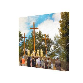 Vintage Lourdes, estaciones de la cruz Impresion De Lienzo