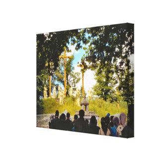 Vintage Lourdes, estaciones de la cruz Lienzo Envuelto Para Galerías