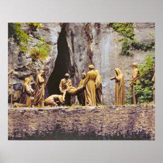 Vintage Lourdes, estaciones de la cruz Póster