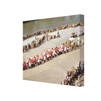 Vintage Lourdes, procesión del sacramento bendecid Impresión En Lona