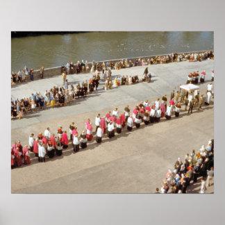Vintage Lourdes, procesión del sacramento bendecid Póster