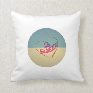 Vintage Love 2 Sweet Heart. Retro Blue Cream Sepia Pillows