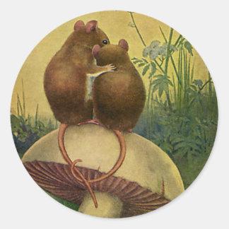 Vintage Love and Romance Animals, Field Mice Round Stickers