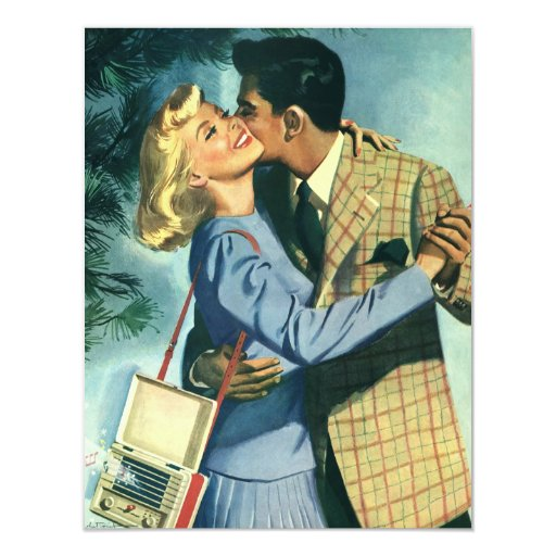 Vintage Love and Romance, Christmas Dance 4.25x5.5 Paper Invitation Card
