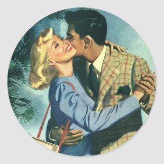 Vintage Love and Romance, Christmas Dance Classic Round Sticker