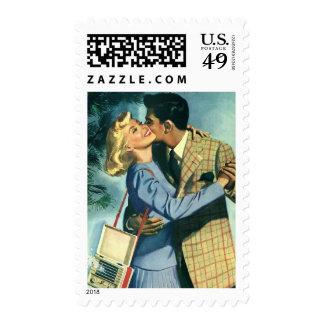 Vintage Love and Romance, Christmas Dance Postage