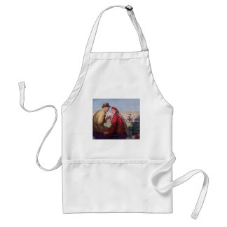 Vintage Love and Romance, Couple at Football Game Adult Apron