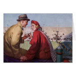 Vintage Love and Romance, Couple at Football Game Cards