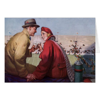Vintage Love and Romance, Couple at Football Game Greeting Card