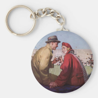 Vintage Love and Romance, Couple at Football Game Keychain