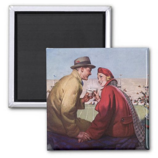 Vintage Love and Romance, Couple at Football Game Fridge Magnets