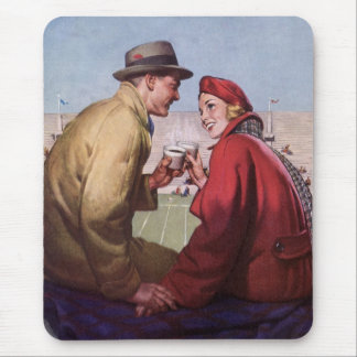 Vintage Love and Romance, Couple at Football Game Mouse Pad