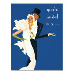 """Vintage Love and Romance Couple Cocktail Party 4.25"""" X 5.5"""" Invitation Card"""