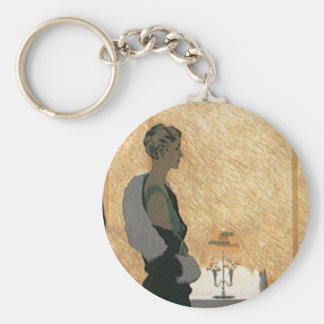 Vintage Love and Romance Couple Elegant Dinner Keychains