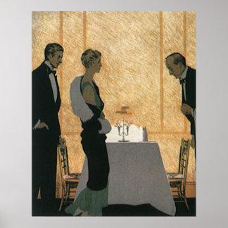 Vintage Love and Romance, Couple Elegant Dinner Poster