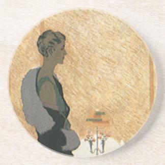 Vintage Love and Romance, Couple Elegant Dinner Sandstone Coaster
