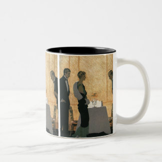 Vintage Love and Romance, Couple Elegant Dinner Two-Tone Coffee Mug