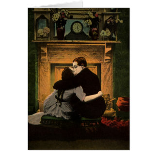 Vintage Love and Romance Couple Romantic Fireplace Greeting Card