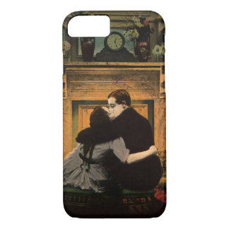 Vintage Love and Romance Couple Romantic Fireplace iPhone 7 Case