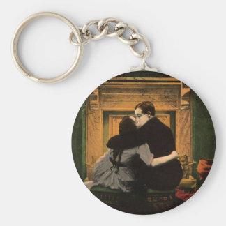 Vintage Love and Romance Couple Romantic Fireplace Keychain
