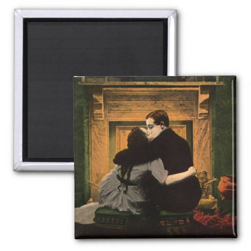 Vintage Love and Romance Couple Romantic Fireplace Refrigerator Magnet