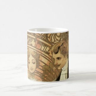 Vintage Love and Romance, Flirt by Alphonse Mucha Coffee Mugs