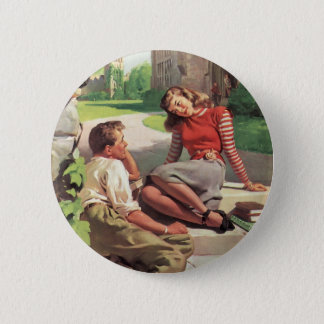 Vintage Love and Romance, High School Sweethearts Pinback Button