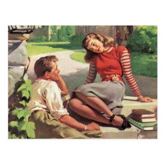 Vintage Love and Romance, High School Sweethearts Postcard