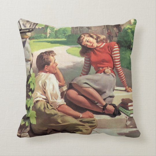 Vintage Love and Romance, High School Sweethearts Throw Pillow