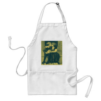 Vintage Love and Romance Photo, Children Kiss Adult Apron