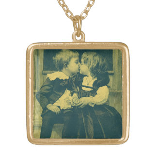 Vintage Love and Romance Photo, Children Kiss Gold Plated Necklace