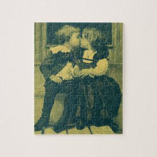 Vintage Love and Romance Photo, Children Kiss Jigsaw Puzzle