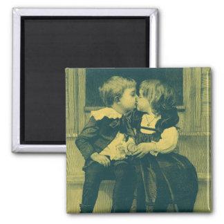 Vintage Love and Romance Photo, Children Kiss Magnet
